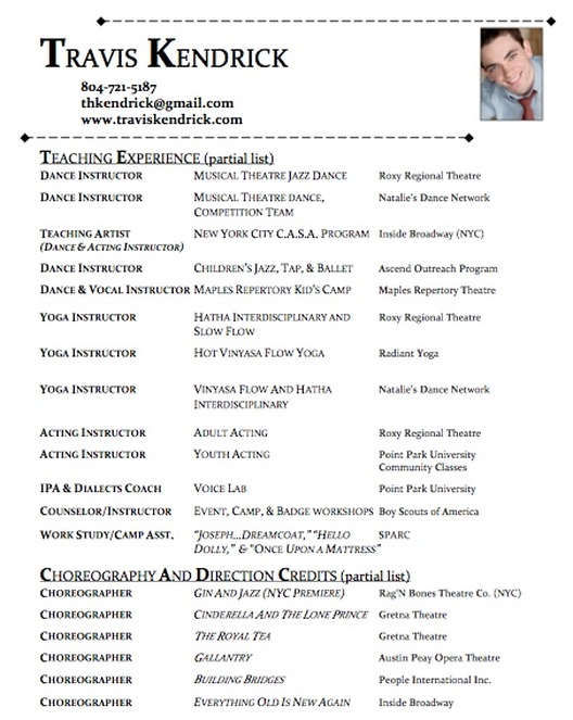 dance resume template