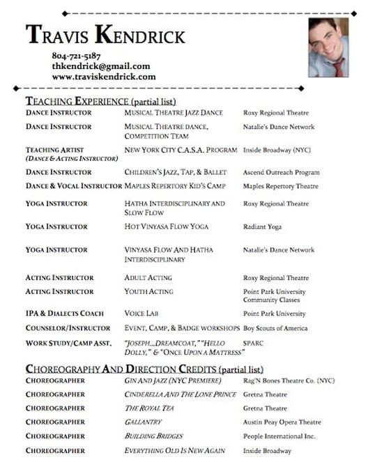 dance resume